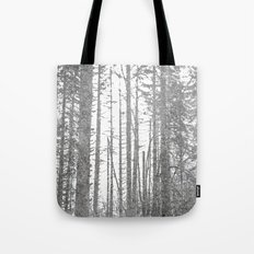 Forest Trees - Black and White Winter Woods Tote Bag
