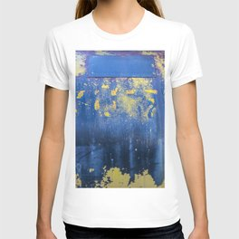 Blue and Yellow Rust Abstact T-shirt