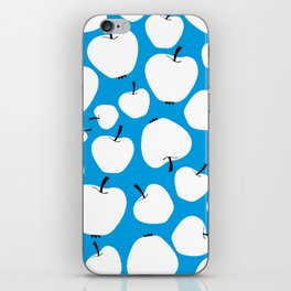 Pattern of white apples on a blue background iPhone Skin