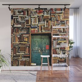 Library with books door entrance Wall Mural
