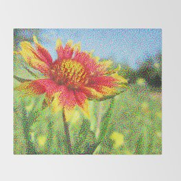 Red Flower in a Field Throw Blanket