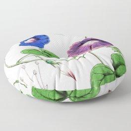 A Purging Pharbitis Vine in full blue and purple bloom - Vintage illsutration Floor Pillow