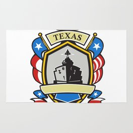 Texas Battleship Emblem Retro Rug