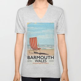 Barmouth, North Wales seaside travel poster. Unisex V-Neck