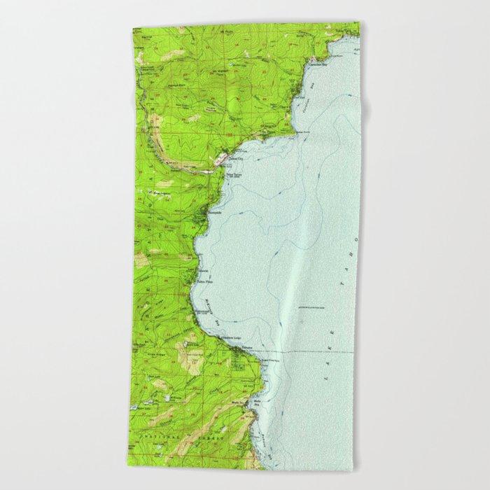 Vintage Map of Tahoe California (1955) Beach Towel