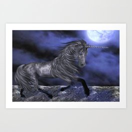 Black Unicorn and the Moon Art Print