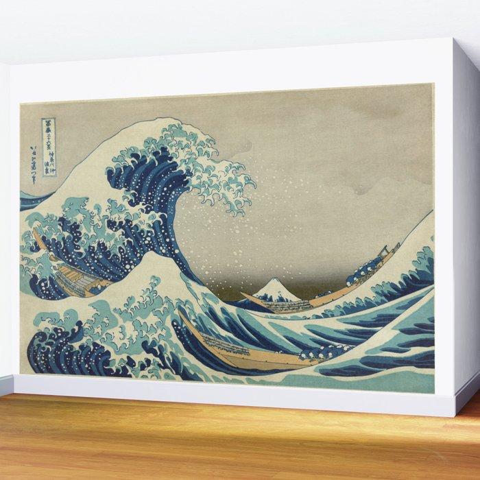 The Classic Japanese Great Wave off Kanagawa Print by Hokusai Wall Mural