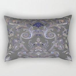 Painted Tibetan Brocade grey Rectangular Pillow
