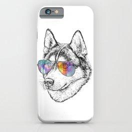 Husky Dog Graphic Art Print. Husky in glasses iPhone Case