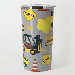 Construction Trucks Pattern - Excavator, Dump Truck, Backhoe and more. Travel Mug