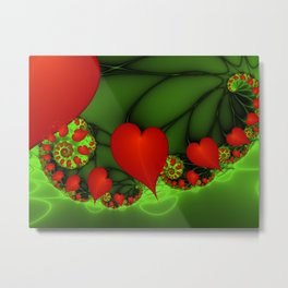 Dancing Red Hearts Fractal Art Metal Print