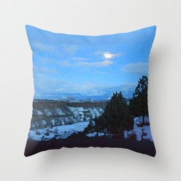 Winter Nightfall at the Gorge Throw Pillow