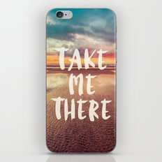 Ocean Sea Beach Water Clouds at Sunset - Take Me There Typography iPhone & iPod Skin