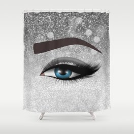 Glam diamond lashes eye #1 Shower Curtain