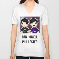danisnotonfire V-neck T-shirts featuring Dan and Phil chibi by Farhana