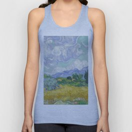 Vincent van Gogh - A Wheat field, with Cypresses Unisex Tank Top