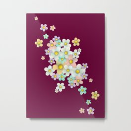 pastel floral pattern on burgundy background Metal Print