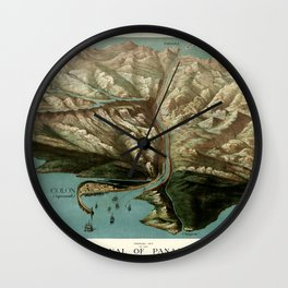 Map Of Panama Canal 1881 Wall Clock