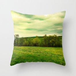Green Grassland Throw Pillow
