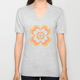 Vintage Flower Design in Sherbet Pink and Buttery Yellow On Black Unisex V-Neck