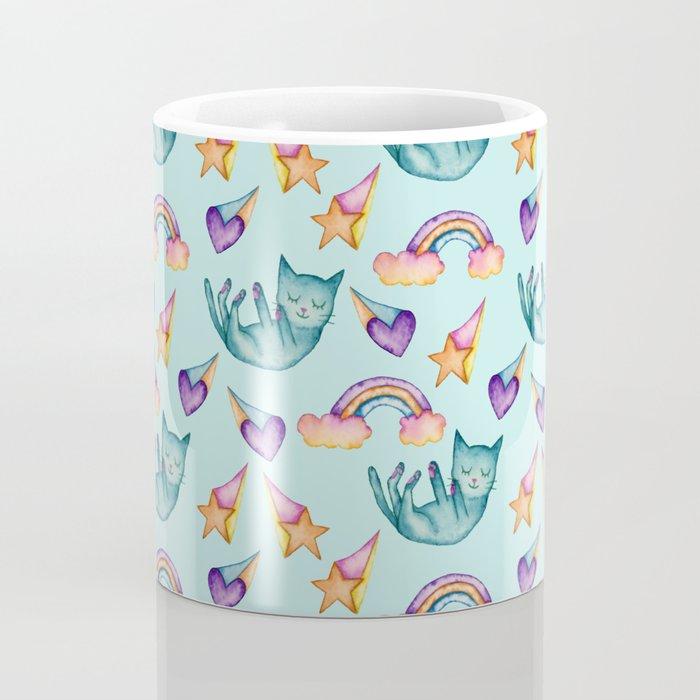Dreamy Cat Floating in the Sky Watercolor Pattern Coffee Mug