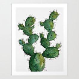 Beautiful watercolor cactus Art Print
