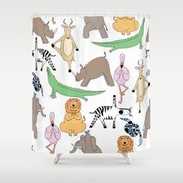safari animal yoga Shower Curtain