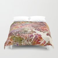 baltimore Duvet Covers featuring Baltimore map by MapMapMaps.Watercolors