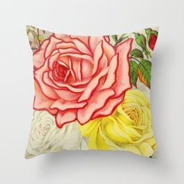 Vintage Multi Colored Rose Illustration (1886) Throw Pillow