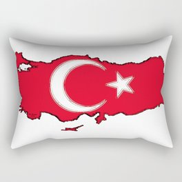 Turkey Map with Turkish Flag Rectangular Pillow