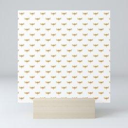 Golden Dragonfly Repeat Gold Metallic Foil on White Mini Art Print