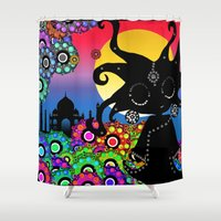 india Shower Curtains featuring India by BLOOP