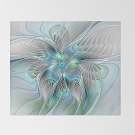 Abstract Butterfly, Fantasy Fractal Art Throw Blanket