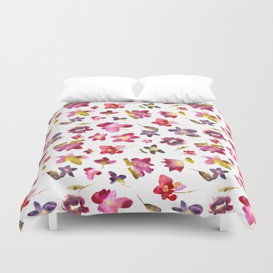 Floral vibes in watercolor Duvet Cover