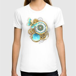 Clock and Gear with Butterfly ( Steampunk ) T-shirt