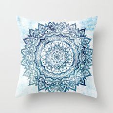 BLUE JEWEL MANDALA Throw Pillow