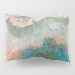 Turquoise Copper Agate Low Poly Geometric Triangles Pillow Sham