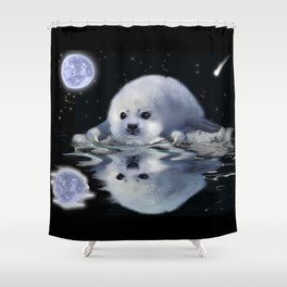 Destiny - Harp Seal Pup & Ice Floe Shower Curtain