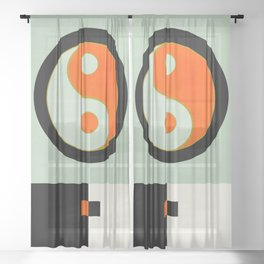 yin yang geometry abstract Sheer Curtain