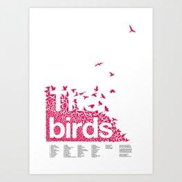 The birds / Red on white Art Print