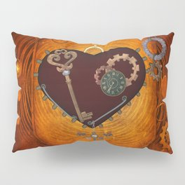 Steampunk, heart with gears Pillow Sham