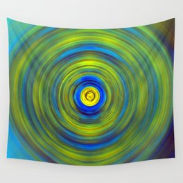 Vivid Green and Blue Swirl Wall Tapestry