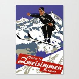 Winter in Zweisimmen Schweiz Canvas Print