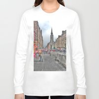 edinburgh Long Sleeve T-shirts featuring Edinburgh by Christine Workman