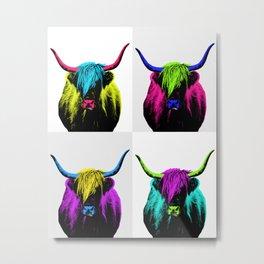 Highland Cow Pop Art Quad Metal Print