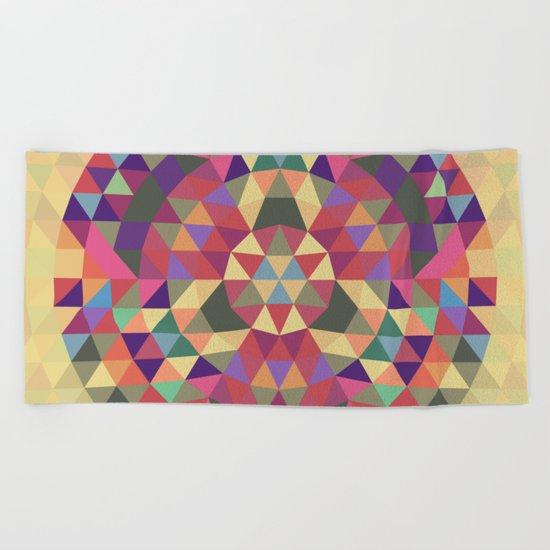 Tribal triangle mandala Beach Towel