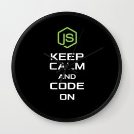 Javascript KEEP CALM AND CODE ON T shirt and Hoodi Wall Clock