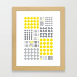 Yellow and Grey Polka Dots Framed Art Print