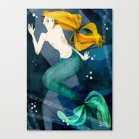 little mermaid Canvas Prints featuring little mermaid by genie espinosa