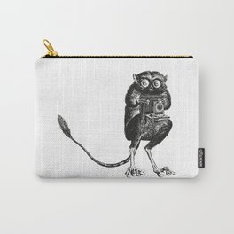 Say Cheese! | Tarsier with Vintage Camera | Black and White Carry-All Pouch